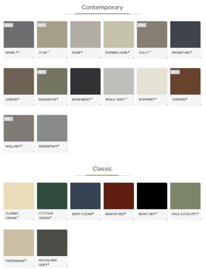 Colourbond colours